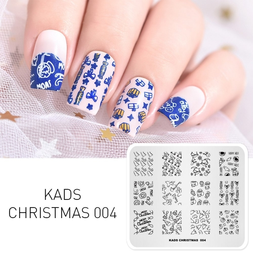 CHRISTMAS 004 Nail Stamping Plate Christmas Gift & Candy & Crystal & Ball & Gingerbread Man