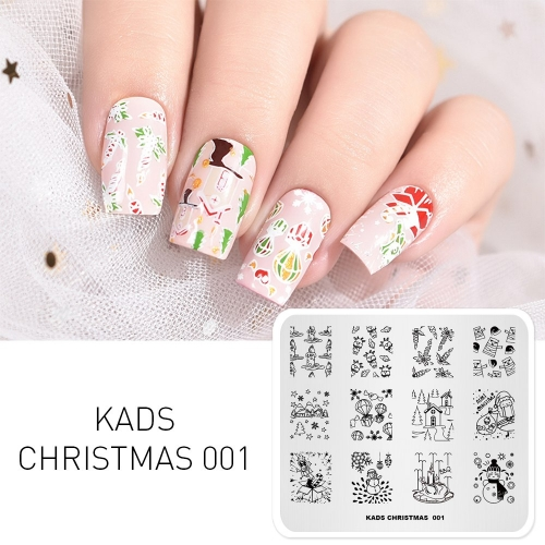CHRISTMAS 001 Nail Stamping Plate Christmas Gift & Snowman & Candle