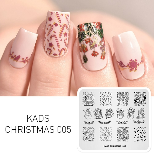 CHRISTMAS 005 Nail Stamping Plate Christmas Bell & Snowman