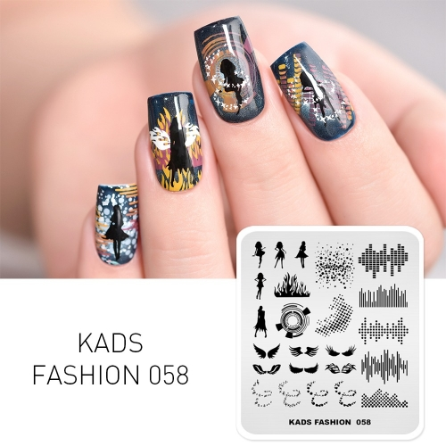 FASHION 058 Nail Stamping Plate Disco & Dancing Girl & Wing