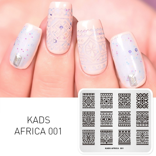 AFRICA 001 Nail Art Stamping Plates Bohemian Style
