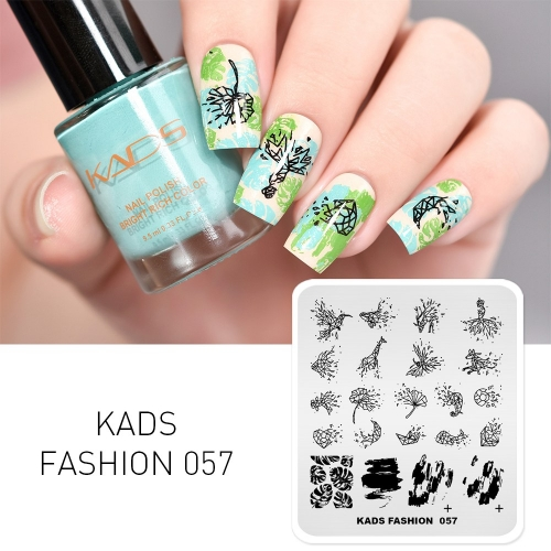 FASHION 057 Nail Stamping Plate Jigsaw & Plant & Animal