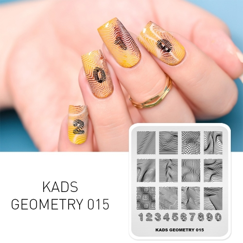 GEOMETRY 015 Nail Stamping Plate Geometry Number & 3D Wave Line & Lattice