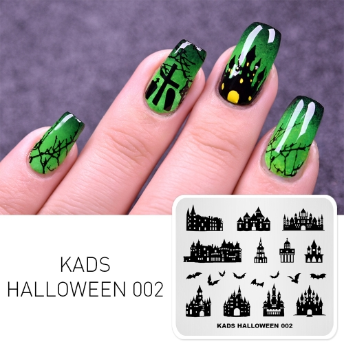 HALLOWEEN 002 Nail Stamping Plate Halloween Castle & Bat