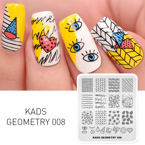 GEOMETRY 008 Nail Stamping Plate Geometry Streak & Lattice & Eye
