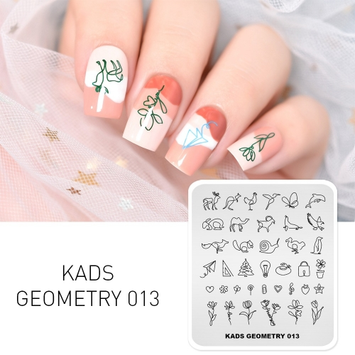 GEOMETRY 013 Nail Stamping Plate Geometry Animal & Flower