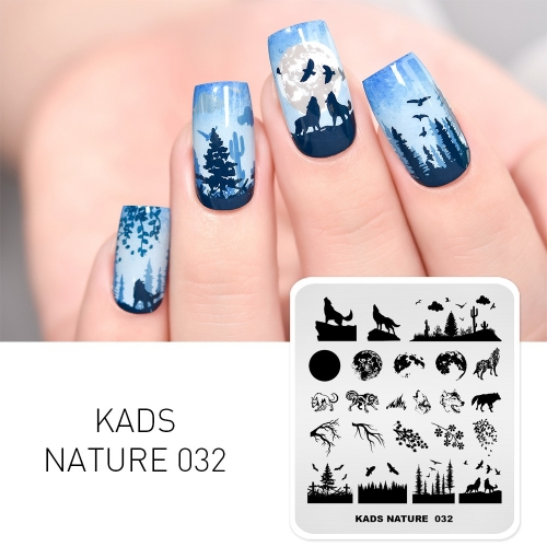 NATURE 032 Nail Stamping Plate Nature Wolf & Moon & Forest & Branches & Eagle