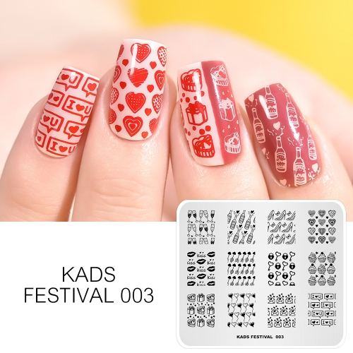FESTIVAL 003 Nail Stamping Plate Festival Valentine's Day & Kiss & Gift & Wine