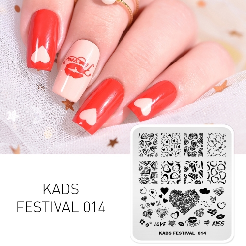 FESTIVAL 014 Nail Stamping Plate Festival Valentine's Day & Love
