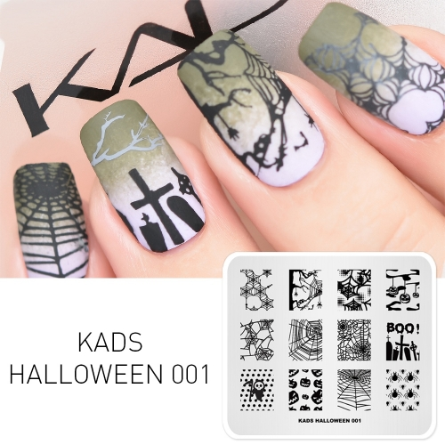 HALLOWEEN 001 Nail Stamping Plate Halloween Spider & Spider Web