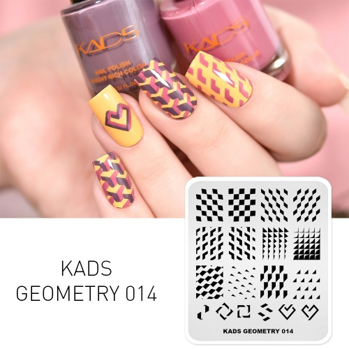GEOMETRY 014 Nail Stamping Plate Geometry Lattice & Triangle & Rhombus