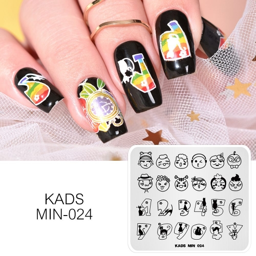 MIN 024 Nail Stamping Plate Cartoon Expression & Number