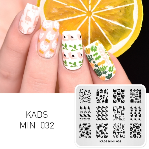 MIN 032 Nail Stamping Plate House & Plant & Bird & Butterfly