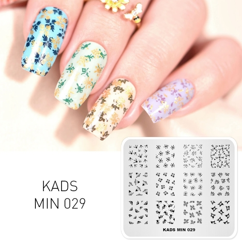 MIN 029 Nail Stamping Plate Floral & Paw & Leaf