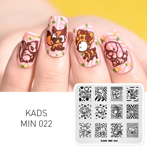 MIN 022 Nail Stamping Plate Animals & Geometry