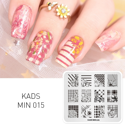 MIN 015 Nail Stamping Plate Flower Plaid & Stripe & Flower