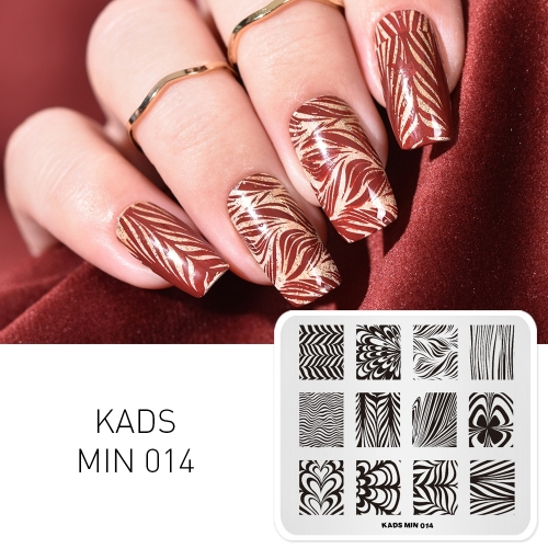 MIN 014 Nail Stamping Plate Ripple & Stripe & Marble