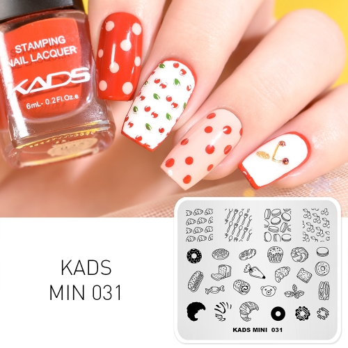 MIN 031 Nail Stamping Plate Dessert & Bread & Cherry