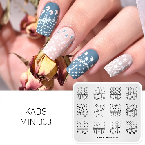 MIN 033 Nail Stamping Plate Hanging ornament & Star & Moon & Flower
