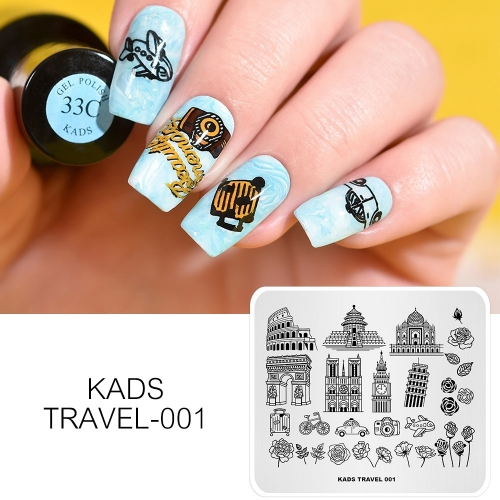 TRAVEL 001 Nail Stamping Plate Transportation & Tourist Attractions & Camera & Flower