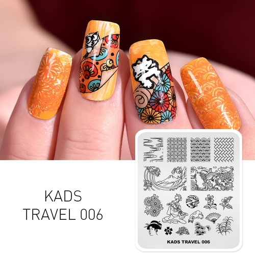 TRAVEL 006 Nail Stamping Plate Japan & Geisha & Pine Tree & Wave & Cherry Blossoms & Carp