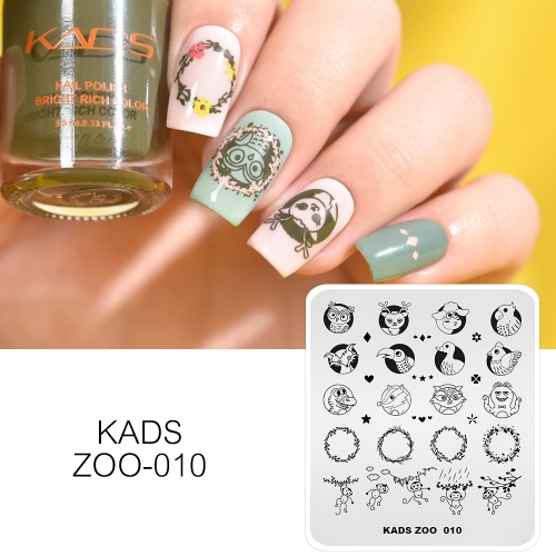 ZOO 010 Nail Stamping Plate Animal & Wreath & Vine