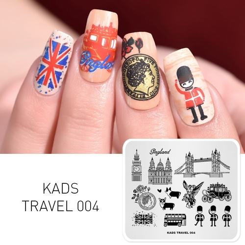 TRAVEL 004 Nail Stamping Plate England & Soldier & Bus & Carriage & Corgi