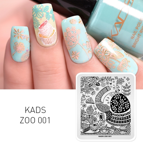 ZOO 001 Nail Stamping Plate Dessert & Hamburger & Plant & Elephant