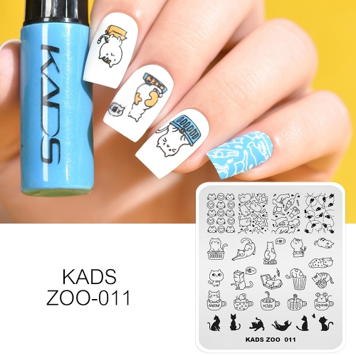 ZOO 011 Nail Stamping Plate Cat & Cup & Mouse