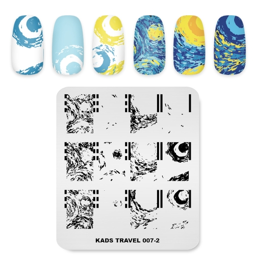 TRAVEL 007-2 Nail Stamping Plate Oil Painting & Starry Sky & Van Gogh