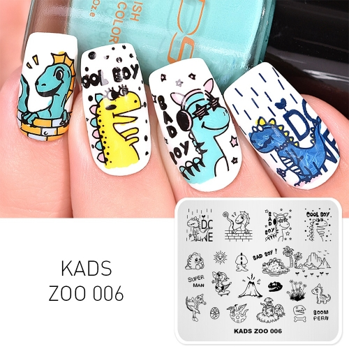 ZOO 006 Nail Stamping Plate Dinosaur & Volcanic & Egg
