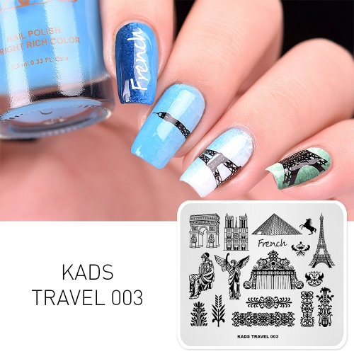 TRAVEL 003 Nail Stamping Plate France & Eiffel Tower