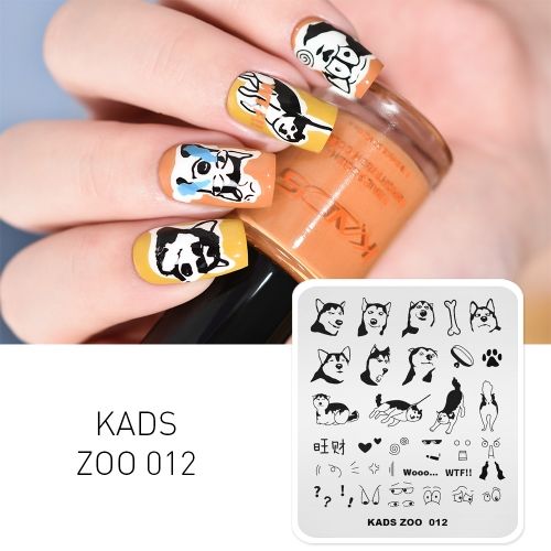 ZOO 012 Nail Stamping Plate Dog Husky Funny Expression