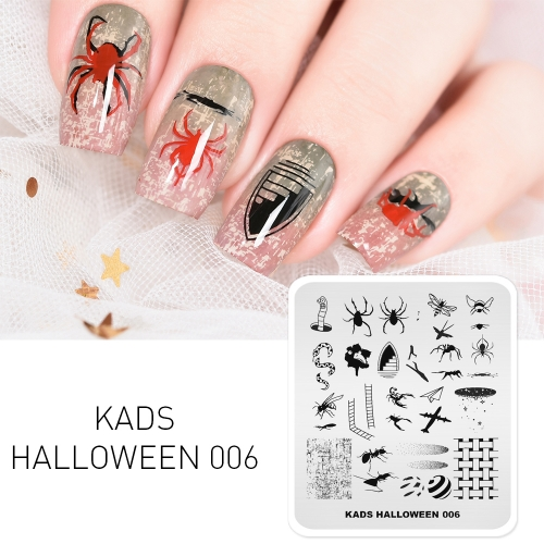 HALLOWEEN 006 Nail Stamping Plate Halloween Spider & Ant