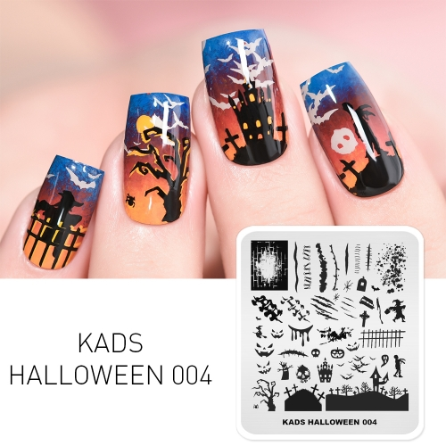 HALLOWEEN 004 Nail Stamping Plate Halloween Scar & Blood & Tomb
