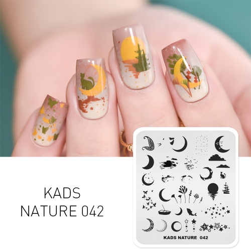 NATURE 042 Nail Stamping Plate Moon Star Boat Dream