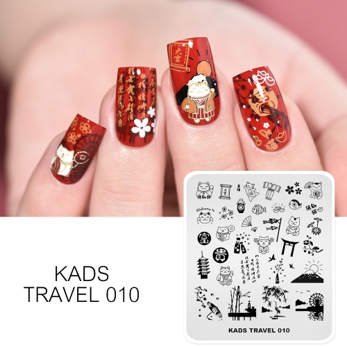 TRAVEL 010 Nail Stamping Plate Japan & Lucky Cat & Mount Fuji