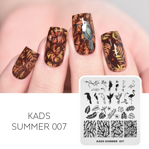 SUMMER 007 Nail Stamping Plate Leaf & Bird