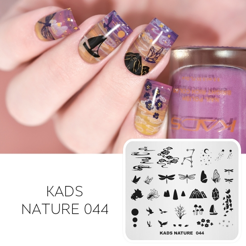 NATURE 044 Nail Stamping Plate Mountain & Cloud & Butterfly & Bird