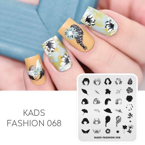 FASHION 068 Nail Stamping Plate Hair & Flower & Butterfly