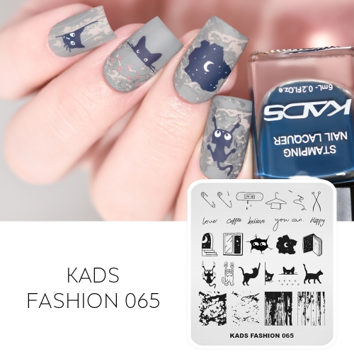 FASHION 065 Nail Stamping Plate Cat & Moon