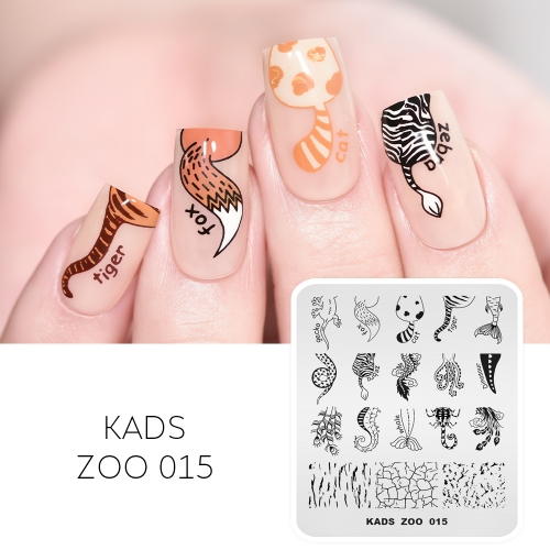 ZOO 015 Nail Stamping Plate Animal & Tail