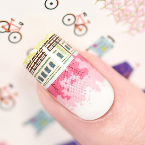 Water Transfer Nail Sticker Spring Travel & Train