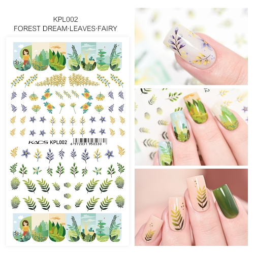 Water Transfer Nail Sticker Forest Fream Leaves & Fairy