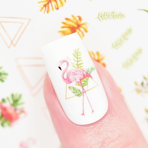 Water Transfer Nail Sticker Flamingo & Tropical Paradise