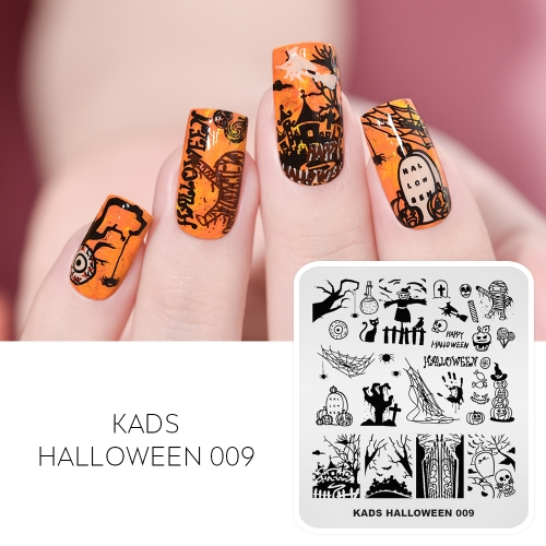 HALLOWEEN 009 Nail Stamping Plate Halloween Tombstone & Mummy & Witch